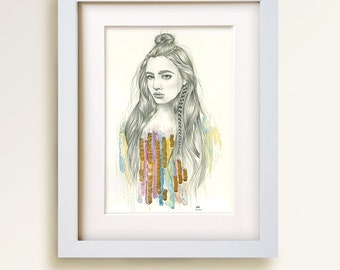 Arabella. Original, mixed media artwork with beading and embroidery on paper, 11 x 14.