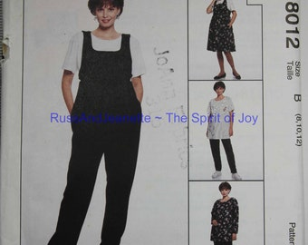 SIze 8 10 12 by Judy Loeb McCalls 8012 Maternity Jumper Jumpsuit Top Pants Shirt Casual Fashion Womens Misses  Uncut Sew Sewing Pattern