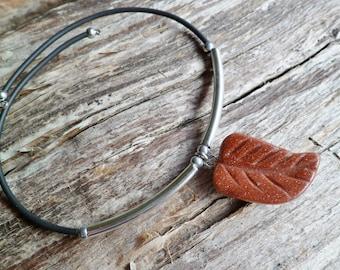 Goldstone Bracelet. Adjustable Bracelet. Rubber Bracelet. Handmade.Goldstone Leaf Bracelet. Bangle Bracelet.