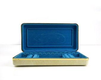 Art Deco Leatherette Jewelry Box / Travel Case / Flip Top Jewelry Case