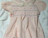 Smocked Vintage Baby Dress/Pale Pink/Peter Pan Collar/1960s
