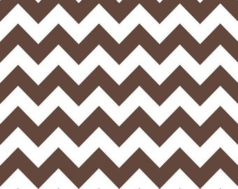Summer Clearance Riley Blake Fabric - 1 Yard of Chevron in Brown