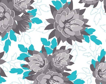 Desert Bloom Fabric Main in Blue by Amanda Herring - Half Yard