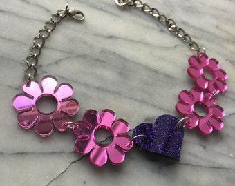 Flower power love choker pink mirror/purple glitter (ready to ship)