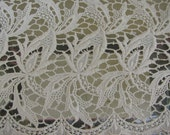 Beautiful Wide Piece of Ivory Cotton Lace 1 Ft Wide 1 yard and 5""