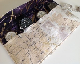 Travel Watch Roll, Watch Case, Groomsmen Gift, Watch Storage Pouch, Jewelry Roll, Maps, Gift For Men, Father Gift, Gift Under 50