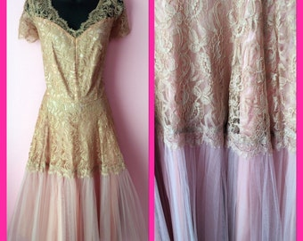 Vintage 1940s Lace Du Barry Dusty Pink and Taupe Dress