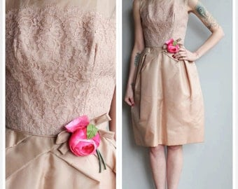 1960s Dress // Champagne Rose Dress // vintage 60s party dress