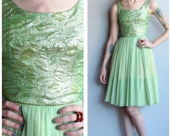 1960s Dress // Chiffon & Brocade Party Dress // vintage 60s dress