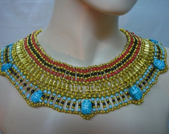 Pretty Egyptian  Queen Cleopatra Necklace 7 Scarab Mega sale