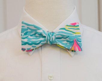 Men's Lilly Bow Tie, You Gotta Regatta, groom bow tie, groomsmen's gift, wedding bow tie, sailboat bow tie, prom bow tie, nautical bow tie
