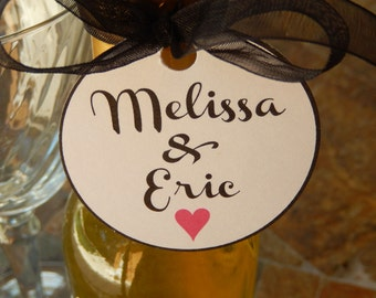"50 Mini Wine Bottle Custom 2"" Favor Tags - For Engagement - Wedding - Couples Showers - Party Favors - 2 Names with a Heart - Gift Tags"