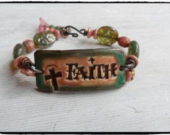 Faith Inspirational Bracelet Pink and Turquoise