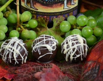 Chocolate Wine Truffles, Chardonnay, Wine Truffles, Dark Chocolate Truffles, Wine Chocolate, Chocolate Wine, Gifts for Him, Hostess Gift