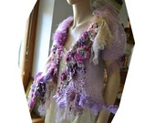 """RESERVED Lovely Sweet  Sexy Burlesque Angora with Lavender Taffeta """"Leopard"""", Jacket CRAZY WILd GIRL Antoinette Antique Tribal Tattered"""