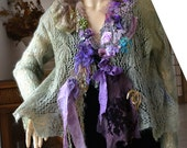 Unique Art To Wear Delicate as Lace Sage Sweater/Jacket  Forest EARLY SPRING Fairy Gipsy Antoinette Tattered