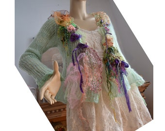 RESERVED Unique Feminine  Soft Light Mohair Mint Sweater Winter Undine LAVENDER ROSEBUD Dragonfly Beaded Fairy Gipsy  Antoinette Tattered
