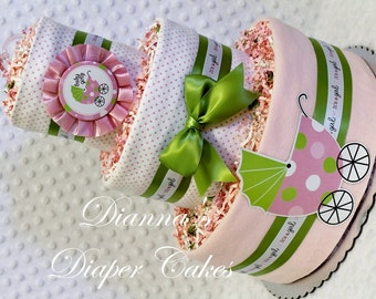 Baby Diaper Cake with 2 Matching Stork Bundles Shower Gift or Centerpieces