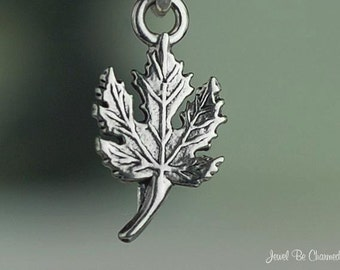 Small Sterling Silver Maple Leaf Charm Tree Leaves Canada Tiny .925