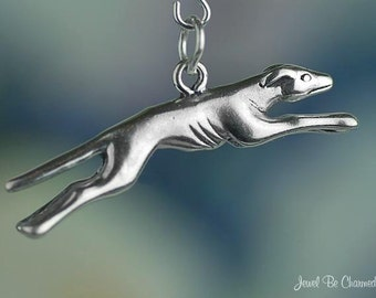 Sterling Silver Greyhound Charm Running Greyhounds Dog 3D Solid .925