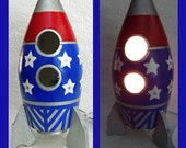 Boys Nightlight - Table Lamp Rocket Ship Red, Blue, Silver, Boys Room, Lighting, Decorative, Unique Gift