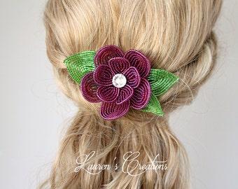 French Beaded Flower Decorative Hair Comb, Purple Wine Bridal hair piece, wedding accessory, bridesmaid floral head piece, bride hair pin