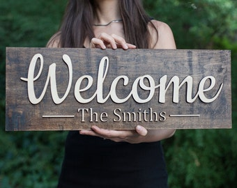 Welcome Sign | Front Door Sign | Welcome Family Name  Sign | Doorway Sign| Family Name Sign | Last Name Sign | Custom Welcome Sign | 3d Sign