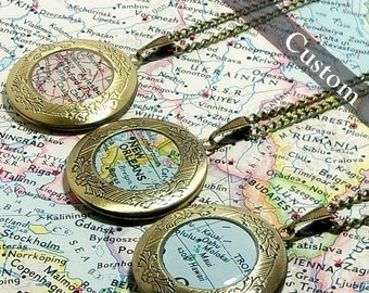 SALE CUSTOM Map Locket. You Select Location. Anywhere In The World. One Locket. Map Necklace. Map Jewelry. Personalized Gift Ideas.