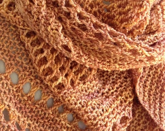 Asymmetrical Knit Shawl Hand Dyed Silk Wool Blend