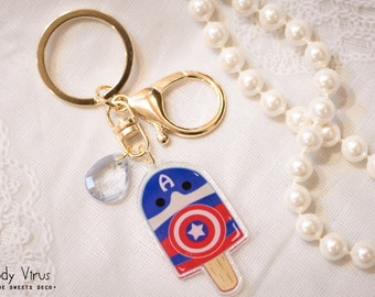 Capsicle Captain America Crystal Clear Acrylic Keyring Charm / Cellphone Strap
