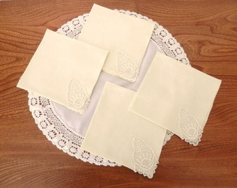 Four Pale Yellow Napkins with Open Work Corner - Luncheon Napkins Pale Yellow - Vintage napkins
