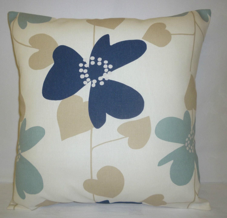 big 22 pillow cover euro sham navy blue beige floral. Black Bedroom Furniture Sets. Home Design Ideas
