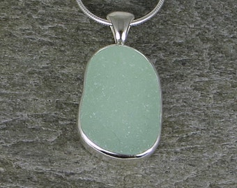 Seafoam Sea Glass Bezel Pendant Necklace
