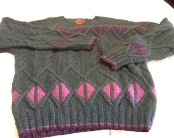 Vintage Men's Wool Sweater JEFFREY BANKS Large Cerulian Blue/Green And Two Shades of Purple