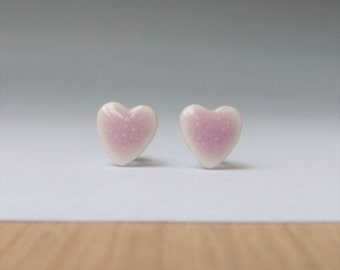 Candy pink earrings Heart stud English porcelain surgical steel post