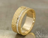 Wide Diamond Wedding Band Organic Texture 14k Yellow Gold / Yellow Gold Wide Wedding Band / Diamond Wide Wedding Band / Diamond Mens Ring