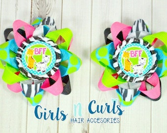 Ready To Ship Set of TWO BFF Loopy Flower Hair Bow