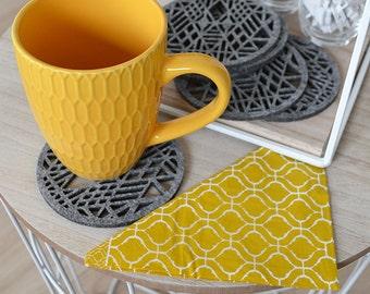 Felt coasters lace  wheel , four elements