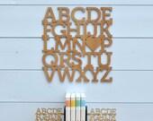 Wood Alphabet Wall Hanging: ABC Baby Nursery Theme Decor