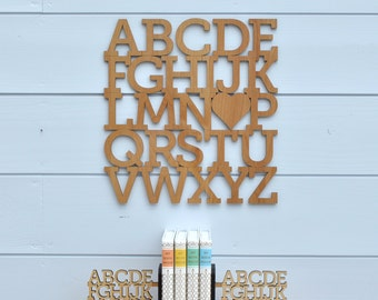 Wood Alphabet Wall Hanging: ABC Baby Nursery Theme Decor