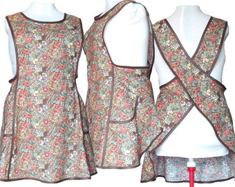 Plus size Apron, Cross back apron, No Tie Apron - Country Flowers on Brown - Made to Order sizes XL, 2XL, 3XL, 4XL