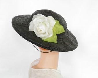 1930s tilt hat, Joal vintage, black straw with white rose, back cap