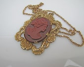Art Nouveau Carnelian Cameo Pendant Necklace. Red Glass Porcelain Cameo. Gilded Brass Frame. Gold Fill Long Chain. Antique Victorian Jewelry