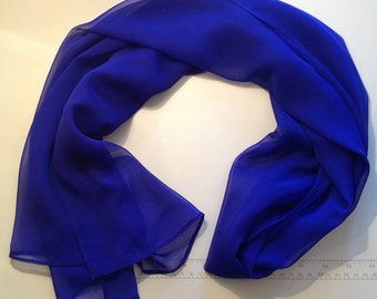 Silk Chiffon Scarf - Marine Blue