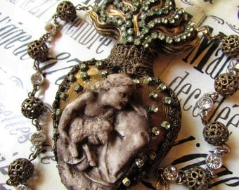 SOLD FINAL pmt for MA Sacred heart necklace rhinestone Agnus Dei statement religious ex voto Cathoic jewelry assemblage antique ooak