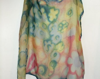 Vintage 80s 90s Rayon Scarf // Neon Painterly Flowers // Hand Printed Made in Japan