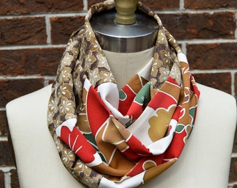 Silk Infinity Scarf - Vintage Japanese Kimono Silk - Browns, Deep Reds, Ivory and Green