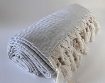 throw blanket, twin size cotton bed throw, light gray chevron blanket, bed cover, blanket, 100% cotton throw, turkish cotton blanket
