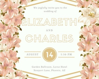 Stipes & Florals Lovely Wedding Invitation, digital download, printable and customizable