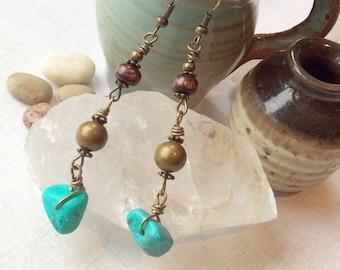 Turquoise Stone Bohemian Drop Earrings